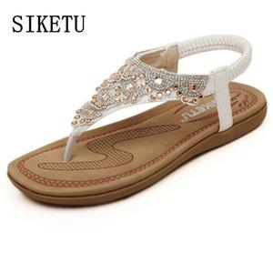 SIKETU verano nueva mujer dulce sandalias diamante de la moda las mujeres de Bohemia sandalias de playa de punta plana cómoda ocasional