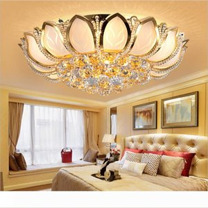 Lotus Flower Modern Ceiling Light With Glass Lampshade Gold Ceiling Lamp for Living Room Bedroom lamparas de techo