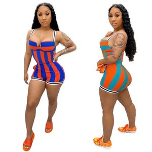 Striped Womens Spaghetti Strap Jumpsuits Summer Sleeveless Backless Sexy Rompers Fashion Casual Women Slim Shorts Jumpsuits