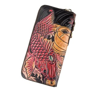 ABER Hand Wallet 2020 New Retro Handmade Embossing Genuine Leather Men Women Wallets And Purses Wallet Card Holder