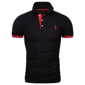 Fashion Designer New Polo Shirt Men Solid Casual Cotton Polo Giraffe Men Slim Fit Embroidery Short Sleeve Men's Polo 10 Colors