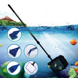 6 em 1 Ferramentas de limpeza dos peixes do aquário tanque limpo Kit Fish Net Gravel Rake Algas raspador Fork Sponge JK2007KD Cleaner