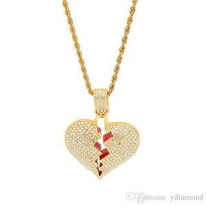 2019 European and American popular hip hop men's broken heart alloy heartbreak pendant foreign explosion necklace