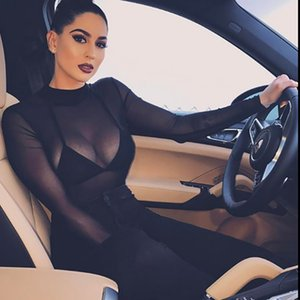 2020 New Arrival Black Perspective Women Jumpsuits Fashion Sexy Crew Neck Grenadine One-pieces Long Sleeve Bodysuit Hot Selling