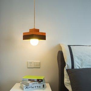 Nordic Chandelier Light Minimalist Square Wooden Black White Hanging Lamp for Bedroom Bedside Kitchen Foyer Decor Luminaire