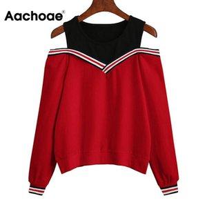 Aachoae 2020 Женщины с плеча Досуг Пуловер толстовки Повседневный осень с длинным рукавом Толстовка Jumper Топы Outwear Sudadera Mujer