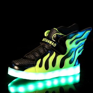 Flame wings light sports high-top LED USB charging 2019 sneakers children's children's shoes colorful luminous shoes