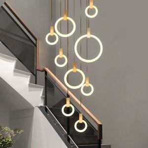 Wooden LED chandelier modern living room ring rotating stairwell long chandelier hotel lobby lighting can be customized 90-260V