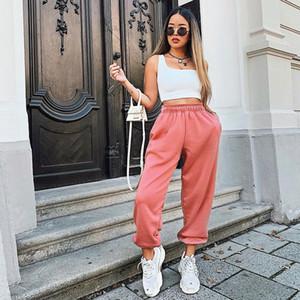 Candy Цвет Розовый Jogger штаны Женщины высокой талией Брюки Jogger Сыпучие Fit дамы Повседневная шаровары моды Sweatpants