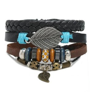Hot sale 100% genuine leather bracelet DIY Multiple leaf Pendants wax rope Beading Men's Combination suit Bracelet 3styles 1set