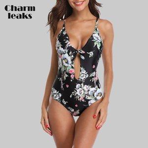 Charmleaks Women One Piece Swimsuit Strappy Bandege Swimwear Back Cross Bikini Bathing Suit Beachwear Monokini MX200613