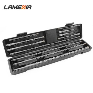LAMEZIA 11pcs set Electric Hammer Drill Bit Suit Boxed Round Handle Cross Alloy Impact Drilling Concrete Wall Opening Tool