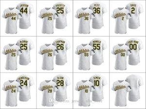 OaklandAthletics #24 Rickey Henderson 26 Matt Chapman 44 Reggie Jackson Men Women Youth Custom White 2020 Authentic Jersey