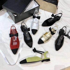 Manera de las mujeres de piel de cordero Oro Negro bombea los zapatos de vestir laminado grosgrain señora del alto talón de la sandalia Algodón Cuero partido de fondo plano con la caja