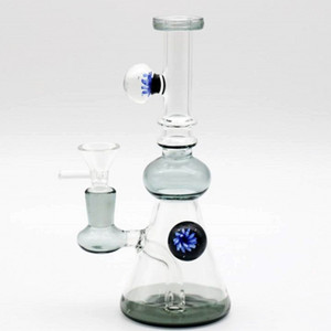 Em armazém vidro Bongos por Fumar 20 centímetros alto Recycler Oil Rigs vidro Bongs taça Dois Função Caliane Com 14,4 milímetros Ball Joint 24 Horas navio
