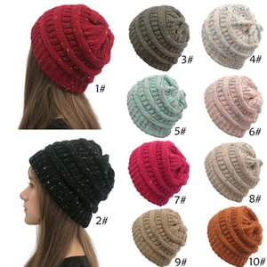 2020 New Women Crochet Knitted Beanie Hat Soft Stretch Cable Knit Winter Warm Skull Beanie
