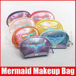 7 개 색상 간단한 패션 스타일 메이크업 가방 인어 장식 조각이 지갑 핸드백 화장품 가방 다채로운 여성 소녀 메이크업 가방