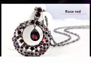 P New Free Shipping Fashion High Quanlity Crystal Sweater Women Pendant Necklace Long Drop Necklace Party Dress Jewelry Gift