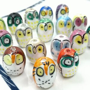 50pcs lot 21x16mm Hole2.6mm Ceramic Beads Loose Hand Painted Owl Ceramics Beads For Jewelry Making DIY Accessories Mix Color