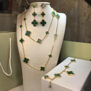 2020 Top-Qualität Schmuck für Frauen Natürliche Malachit Blume Klee Set vier Blatt-Blumen-Halsketten-Armbandohrring-Set Schmuck freies Verschiffen