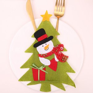 New Year Christmas Decoration DIY Christmas Old man Cover Knife Fork Bag Cutlery Bag Party Decor