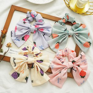 Women Girls Bows Scrunchies Strawberry Letter Elastic Hair Band Hair Holder Kids Strawberry Printed Bows Chiffon Elastic Hairband V073