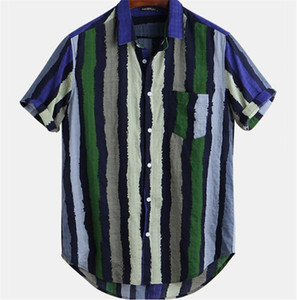 Mens Designer Shirts Fashion Striped Panelled Shirts Casual Turn Down Collar Short Sleeve Shirts Men S Clothing