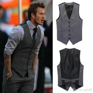 New Leisure Mens Suit Vest Wedding Banquet Gentleman Suit Vests Fashion V Neck Slim Fit Golf Beckham Vest For Men