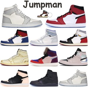 Jumpman 1 1s Mens tênis de basquete lobo cinzento Sail ginásio branco preto vermelho Zoom Branco Racer União Azul Los Angeles Preto Toe Com Box
