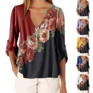 10 Colour S-5XL Women's Ladies Chiffon Tops Long Sleeve Shirt Casual Blouse Tops Floral Plus Size 5XL 62241860645725