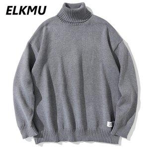 Men's Sweaters ELKMU Turtleneck Solid Color Pullover Knitted 2021 Harajuku Casual Knitwear Jumper Hip Hop Streetwear Men Tops WE039