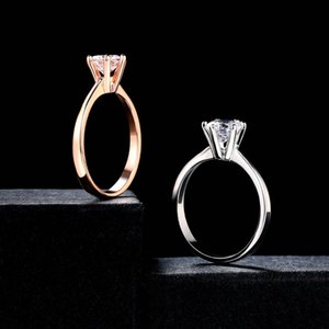 Double Fair 6 Claw Cubic Zirconia Wedding Engagement rings Women White Rose Gold Color Women's Ring Jewelry
