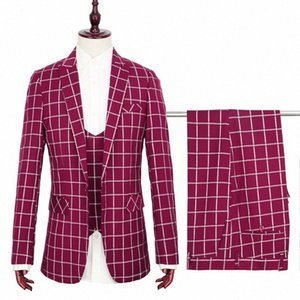 Toturn 2020 Patrón nuevo diseño de la raya de 3 PC hombres juego determinado de Tuxedo vestido de fiesta de traje chaqueta de la chaqueta del chaleco de las bragas de los pantalones juego del ocio OvXO #
