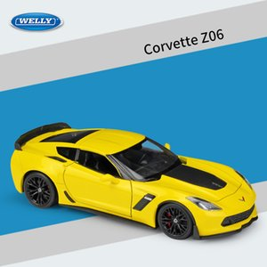 Welly Diecast Alloy Chevy 2017 Corvette Z06 Car Model Toy, 1:24 Scale Ornament, for Christmas Kid Birthday Boy Gift, 24085, Collecting, 2-1