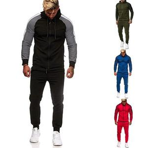 Hiphop Male Designer Tracksuits Letter Printed Contrast Color Zipper Neck Fashion Suits Mens 2 PCS Autumn Outfits Pants Set