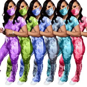 Fatos com máscara Pescoço V Tees com longas plissadas Dividir Calças Designer Womens empilhados Calças Define Verão Womens Magro Tie-Dyed