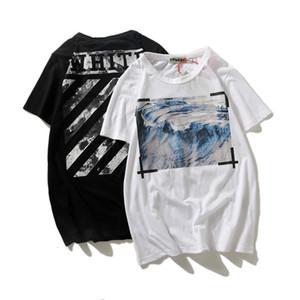 Nuovo onda del mare della pittura a olio degli uomini di cotone neri e delle donne intorno collare pullover casuale T-shirt sciolto a maniche corte