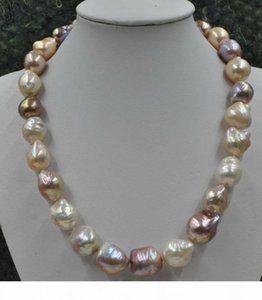pearls jewelry high quality GORGEOUS! Natural Rare multicolor 12-16mm furrow Kasumi Pearl Necklace