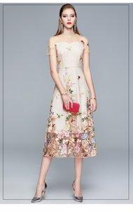 Fashionable Women's Mesh Panelled Dress Elegant Lady Embroidery Dresses Short Sleeve Crew Neck Summer Long Dress