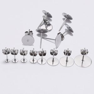 Or Argent en acier inoxydable couleur blanc dormeuses base avec Stoper Fit 3/4/5/6/8/10/12 mm Cabochon Perles bricolage Fabrication de bijoux