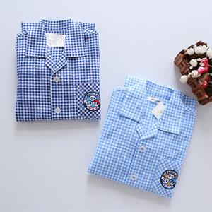 la mitad de la manga de doble capa nueva de hilo de algodón burbuja de Capri de hilo muchachos uoj17 dormir del verano la ropa del juego de decoración doméstica refreshin ropa