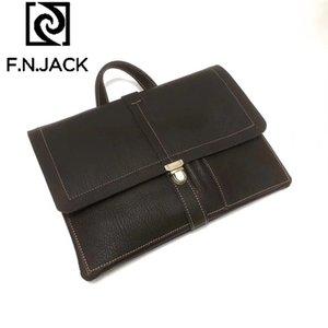 F.N.JACK Fashion Original Handmade Leather Large Capacity Business Handbag Multi Function MacBook Pro   Air Computer Bag 2020