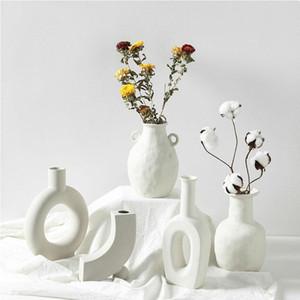 الشمال الوظائف السيراميك زهرية الرئيسية الحلي الأبيض نباتي الإبداعية السيراميك اناء للزهور المزهريات ديكورات المنزل الحرف هدايا