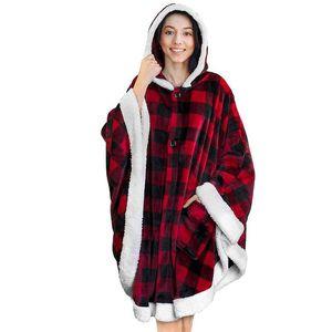 Ins Lazy Blanket Cloak Mens Womens Designer Plaid Hoodie Wearable Flannel Fleece Blankets Robe With Pocket Cape GGA3003-1