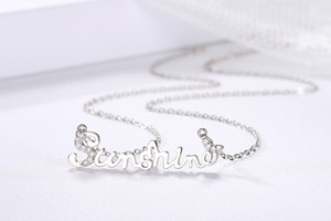 Women Fashion Pendant Necklace Diamonds Sunshine Letter Pendant Zircon Romance Link Chain Necklace Statement Charm Jewelry Birthday Gift