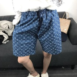 New high-waisted denim shorts printed in blue, hip hop, and wide-leg jeans