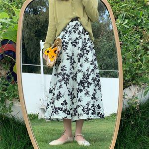 Мода высокой талии цветочные Maxi Skirt 2020 Новая осень Урожай корейский стиль юбки женщин-линии Длинные юбки Женский