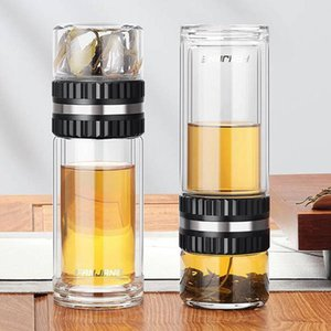 350ML 400ML 450ML double glass tea separation cup men and women creative portable filter handy cup with cup cover