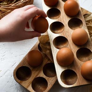 Японский стиль Деревянных Двухрядное яйцо ящик для хранения Home Organizer Стеллаж Яйца держателя Кухни Декор Аксессуары