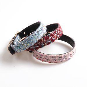 Free shipping dog collar dog leash sets pet collar Ch**el style classic Tweed+soft PU comfortable